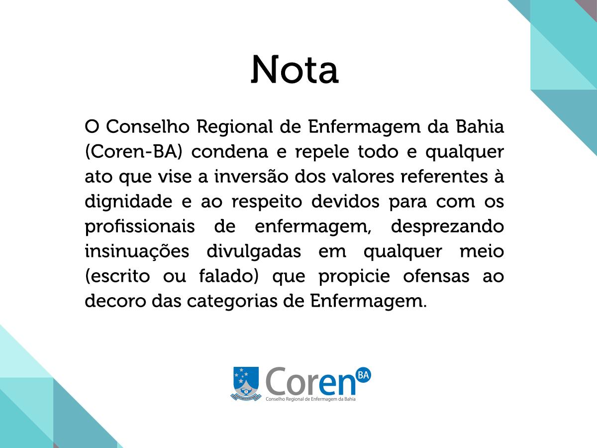 846e15cf70c07 Nota do Coren-BA - Conselho Regional de Enfermagem da BahiaConselho Regional  de Enfermagem da Bahia